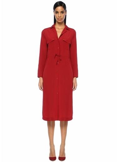 Beymen Collection Beli Büzgülü Midi İpek Gömlek Elbise Kırmızı